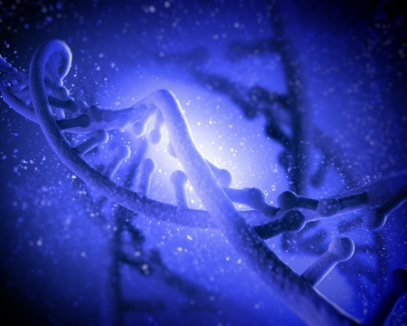 DNA molecule is located in front of a colored background  abstract collage Stock Photo - 18747218