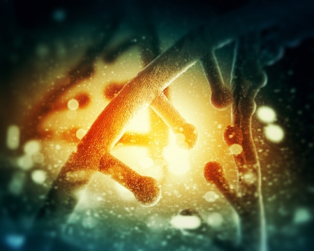 DNA molecule is located in front of a colored background  abstract collage Stock Photo - 18747052