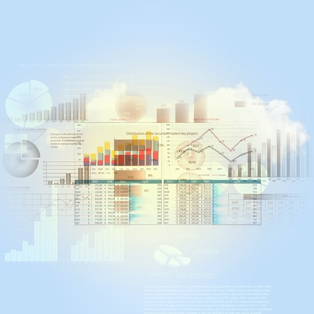 analytics: Abstract high tech background with graphs and diagrams Stock Photo