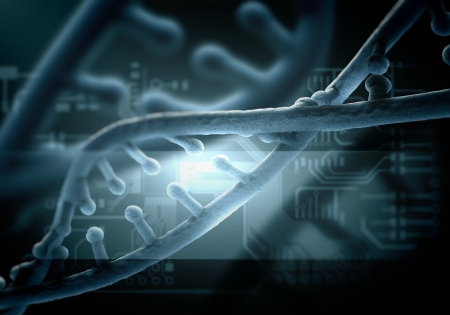 DNA molecule is located in front of a colored background  abstract collage Stock Photo - 18746668