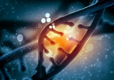 Cząsteczka DNA jest zlokalizowany naprzeciwko barwnego kolażu abstrakcyjnym tle