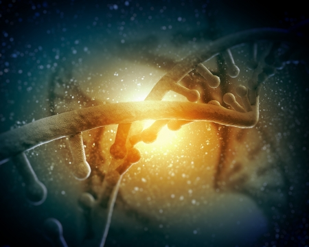 DNA molecule is located in front of a colored background  abstract collage Stock Photo - 18747003