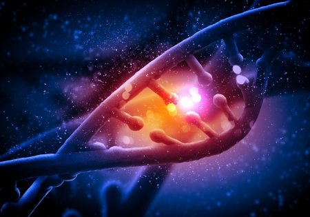 DNA molecule is located in front of a colored background  abstract collage Stock Photo - 18747324