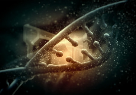 DNA molecule is located in front of a colored background  abstract collage Stock Photo - 18746613