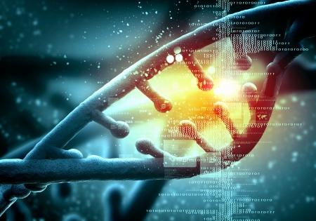 bioteknik: DNA-molekylen är placerad framför en färgad bakgrund abstrakt collage