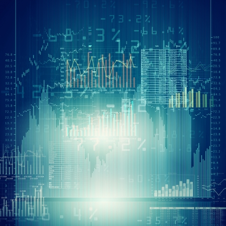 Abstract high tech background with graphs and diagrams Stock Photo