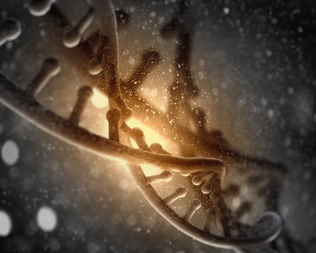 DNA molecule is located in front of a colored background  abstract collage Stock Photo - 18747002