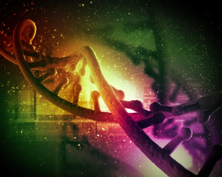 genetic research: DNA molecule is located in front of a colored background  abstract collage