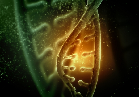 DNA molecule is located in front of a colored background  abstract collage Stock Photo - 18747062
