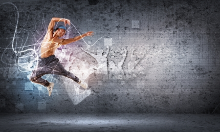 breakdancing: young man in a blue cap dancing hip hop - collage
