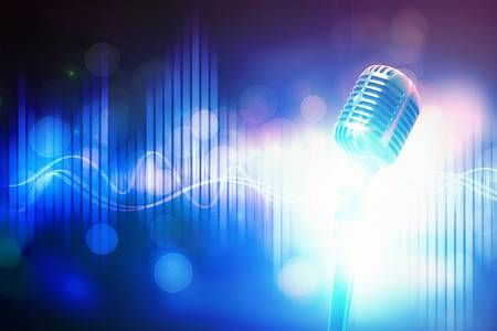 let s: Let s sing  Stylish retro microphone on a colored background