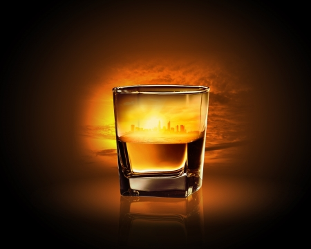 whisky: Glass of whiskey with city illustration in it