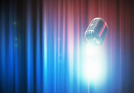 Let s sing  Stylish retro microphone on a colored background Stock Photo - 18745769