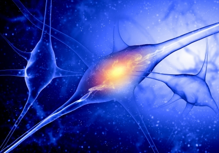 Illustration of a nerve cell on a colored background with light effects illustration