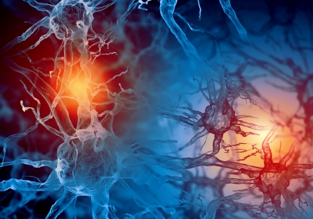 puls: Ilustracja z komórki nerwowej na kolorowym tle z efektami świetlnymi
