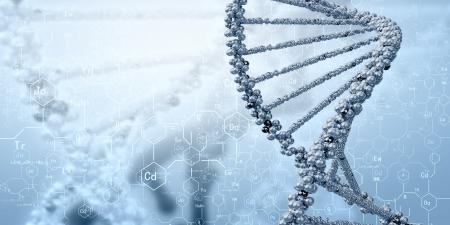 DNA-molecuul is gelegen in de voorkant van een gekleurde achtergrond abstracte collage Stockfoto