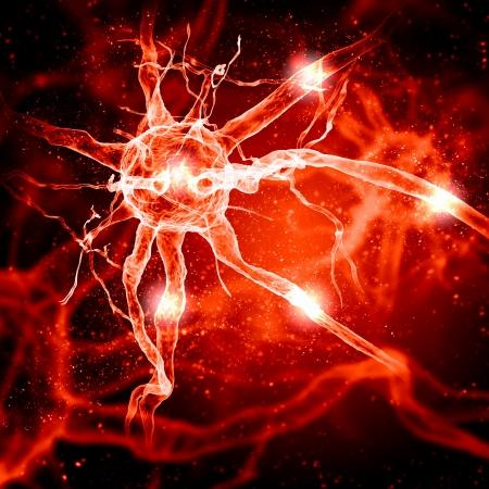 impulse: Illustration einer Nervenzelle auf einem farbigen Hintergrund mit Lichteffekten