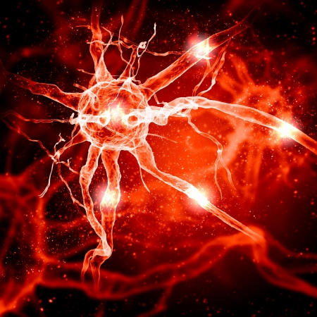 brain cells: Illustration of a nerve cell on a colored background with light effects