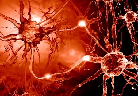 nervios: Ilustración de una célula nerviosa sobre un fondo de color con efectos de luz