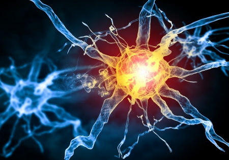 impulse: Illustration of a nerve cell on a colored background with light effects