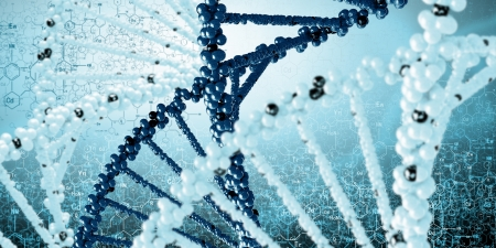 DNA molecule is located in front of a colored background  abstract collage Stock Photo - 18794144