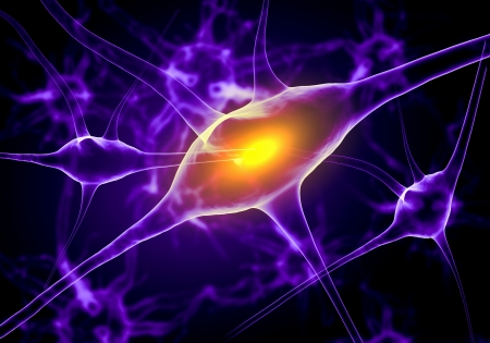 Illustration of a nerve cell on a colored background with light effects Stock Illustration - 18794102