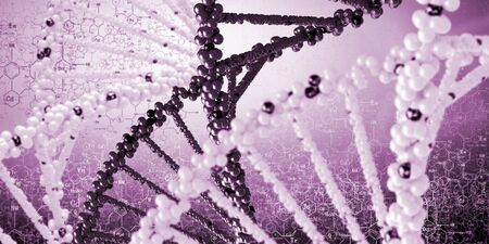 DNA molecule is located in front of a colored background  abstract collage photo