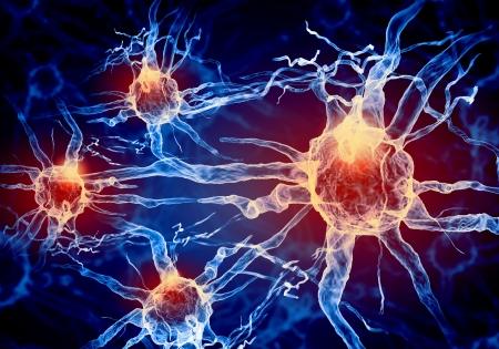Illustratie van een zenuwcel op een gekleurde achtergrond met lichteffecten Stockfoto