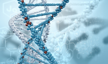health technology: DNA molecule is located in front of a colored background  abstract collage