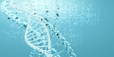 genome: DNA molecule is located in front of a colored background  abstract collage