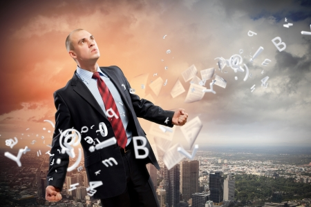 Image of young businessman in anger against illustration background Stock Illustration - 18793480