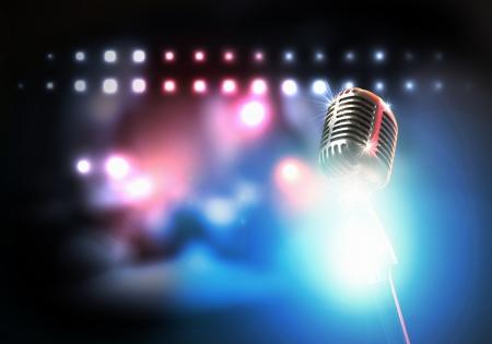 let on: Sea s cantar micr�fono retro con estilo en un fondo de color