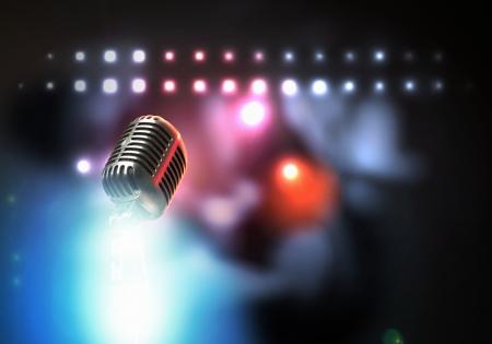 live entertainment: Let s cantare microfono stile retr� su uno sfondo colorato