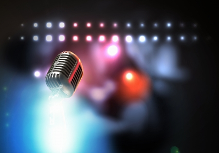 Vamos s cantar micrófono retro con estilo en un fondo de color