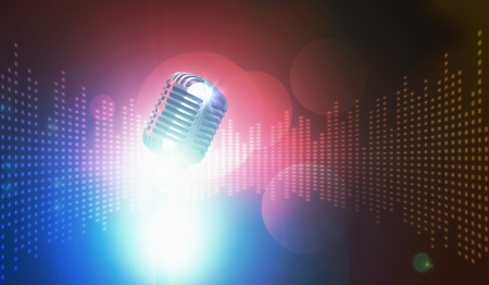 Let s sing  Stylish retro microphone on a colored background Stock Photo - 18822509