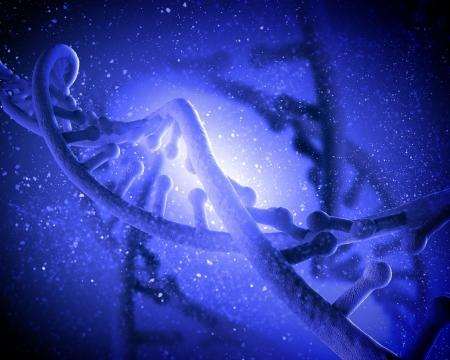 adn humano: Mol�cula de ADN se encuentra en frente de un collage extracto fondo coloreado
