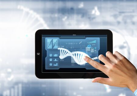 dna helix: DNA helix abstract background on the tablet screen  Illustration