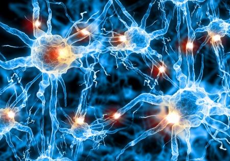 zenuwcel: Illustratie van een zenuwcel op een gekleurde achtergrond met lichteffecten Stockfoto