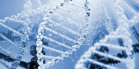 DNA molecule is located in front of a colored background  abstract collage Stock Photo - 18892118