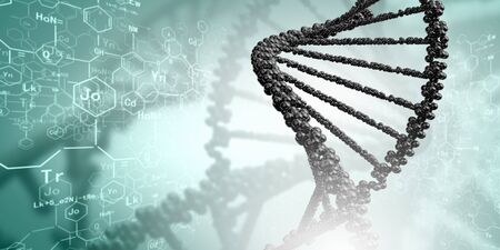 DNA molecule is located in front of a colored background  abstract collage Stock Photo - 18892088