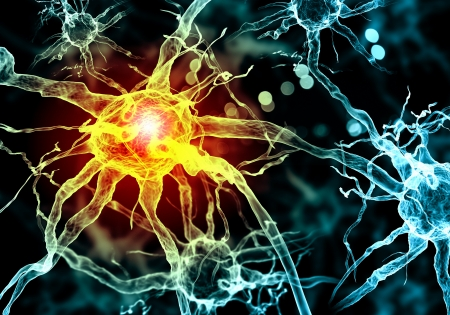 encephalon: Illustration of a nerve cell on a colored background with light effects