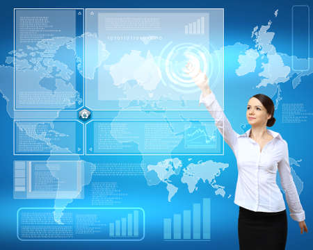 Image of a businesswoman and technology related background photo