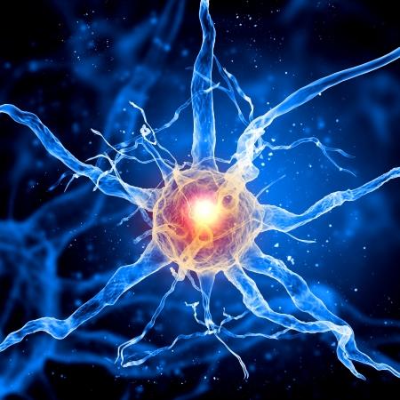 neurona: Ilustración de una célula nerviosa sobre un fondo de color con efectos de luz