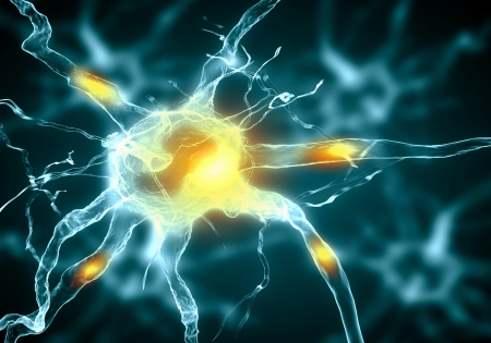 hormon: Illustration of a nerve cell on a colored background with light effects