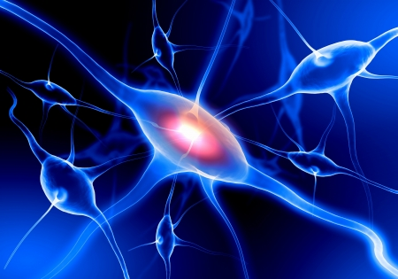 Illustratie van een zenuwcel op een gekleurde achtergrond met lichteffecten