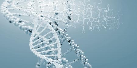 DNA-molecuul is gelegen in de voorkant van een gekleurde achtergrond abstracte collage