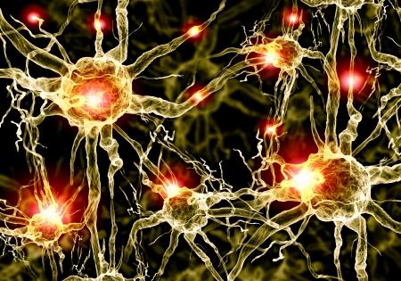 impulse: Illustration von einer Nervenzelle auf einem farbigen Hintergrund mit Lichteffekten