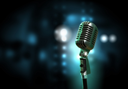 entertainment: Single retro microphone against colourful background with lights