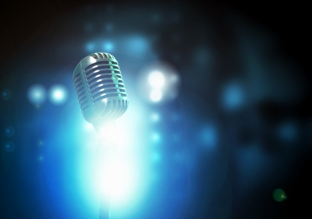 micro recording: Let s sing  Stylish retro microphone on a colored background