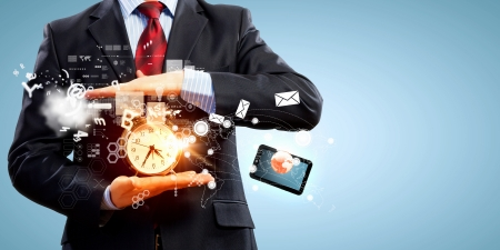 past: Image of businessman holding alarmclock against illustration background  Collage